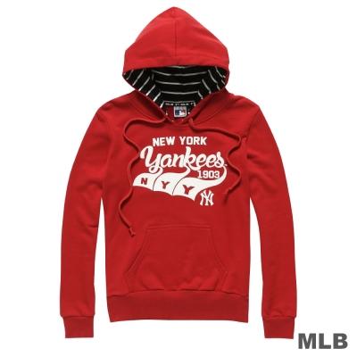 MLB-紐約洋基隊Q版草寫連帽長袖厚T恤-紅-女