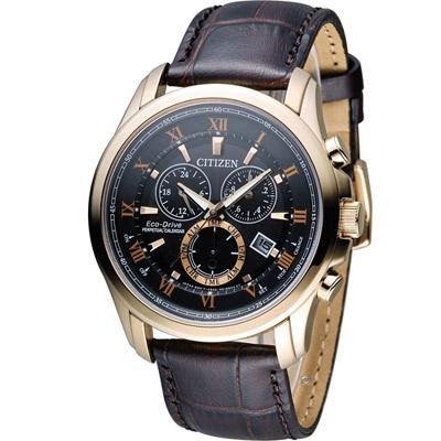 CITIZEN 光動能雙時區萬年曆限定腕錶(BL5542-07E)-黑x玫瑰金/43mm