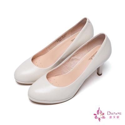 達芙妮DAPHNE-簡單之最小羊皮素面圓頭高跟鞋