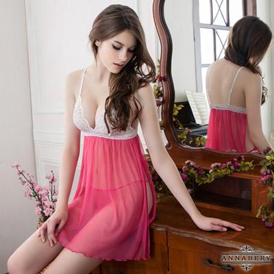 大尺碼 桃色側開襟二件式柔紗睡衣L-2L Annabery