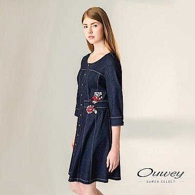 OUWEY歐薇 精緻車縫花卉貼繡丹寧洋裝(藍)-動態show