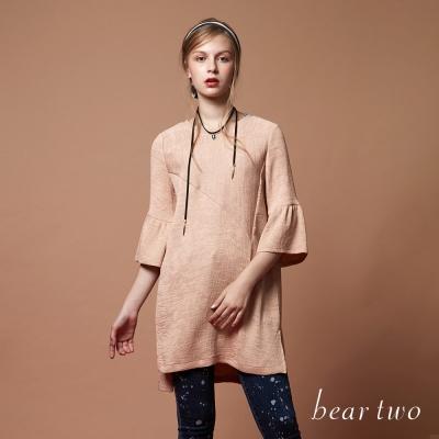 beartwo 長版甜美喇叭袖造型上衣(淺卡其色)