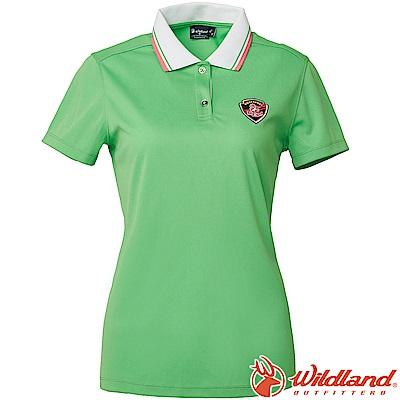 Wildland 荒野 0A61617-66蘋果綠 女Coolmax排汗POLO衫