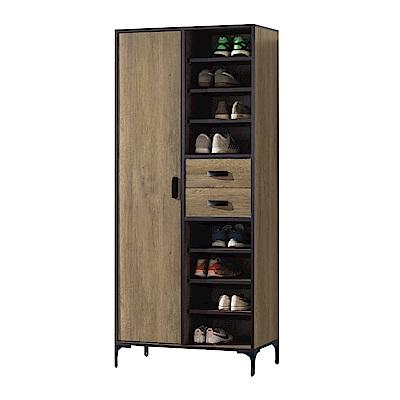 品家居  班克羅2.7尺半開放式高鞋櫃-80x40x182cm免組