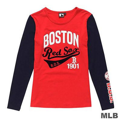 MLB-波士頓紅襪隊美式草寫植絨印花長袖T恤-紅 (女)