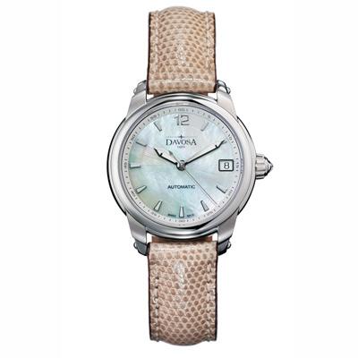 DAVOSA Ladies Delight 系列 經典時尚腕錶-白x淺咖啡錶帶/34mm