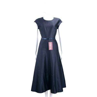 Max Mara 深藍泰絲混紡短袖洋裝(附腰帶)