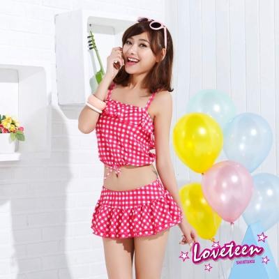 夏之戀SUMMERLOVE  俏麗格子短版三件式泳衣