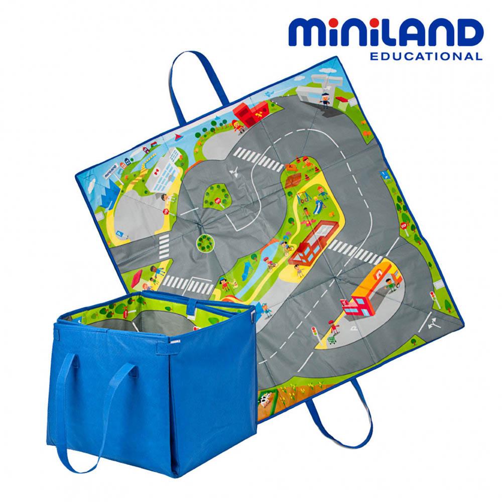 【西班牙Miniland】2in1城市軌道遊戲墊/收納箱