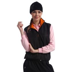 【Men Shark】77063低調黑配亮橘輕量柔軟刷毛雙面★中性版保暖背心