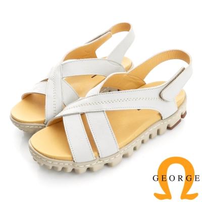 GEORGE 喬治-舒適系列 真皮縫線魔鬼氈涼鞋(女)-白色