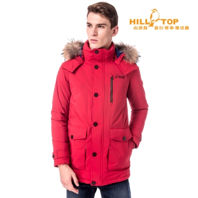 【hilltop山頂鳥】男款防水透氣蓄熱羽絨外套F22MW3深紅
