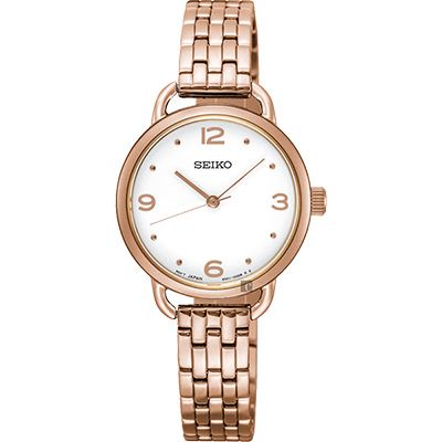 SEIKO精工 城市時尚薄型女錶(SUR672P1)-銀x玫塊金/26mm