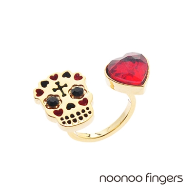 Noonoo Fingers Heart Skull Ring  愛心骷顱頭 戒指