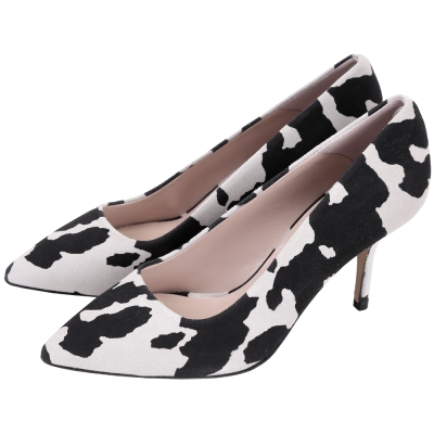 BOUTIQUE MOSCHINO 動物紋麂皮高跟鞋(黑x灰)