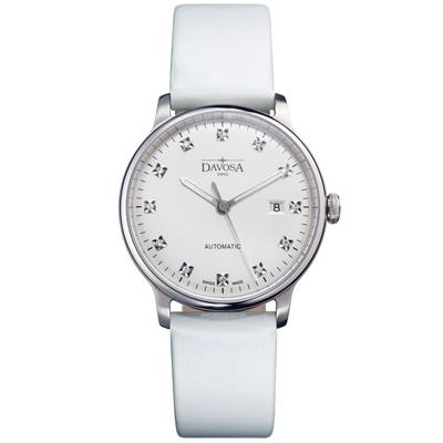 DAVOSA Glam Vanguard 先鋒系列超薄機械腕錶-白x白色錶帶/40mm