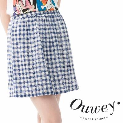 OUWEY歐薇-經典格紋後鬆緊帶壓摺蕾絲裙