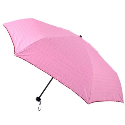 2mm 色膠抗UV 彩點花邊輕量手開傘 (粉紅)