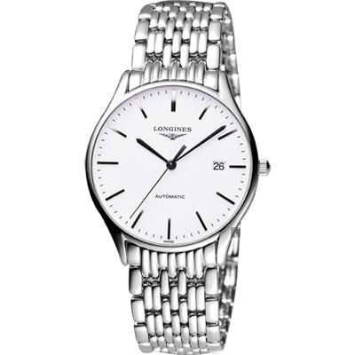 LONGINES 浪琴 Lyre 琴韻經典機械腕錶-白x銀/38mm