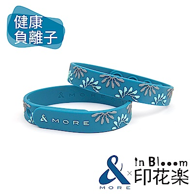 &MOREx印花樂 健康能量手環(烏秋圈圈)-孔雀藍