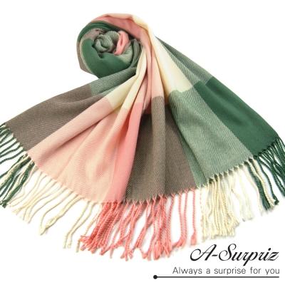 A-Surpriz 典雅英倫方格寬版仿羊絨披肩圍巾(粉綠格)