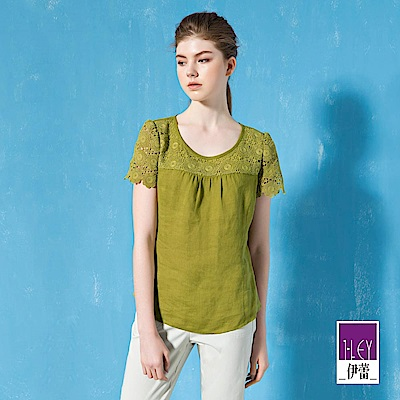 ILEY伊蕾 100%輕薄亞麻蕾絲拼接圓領上衣(綠/桃)
