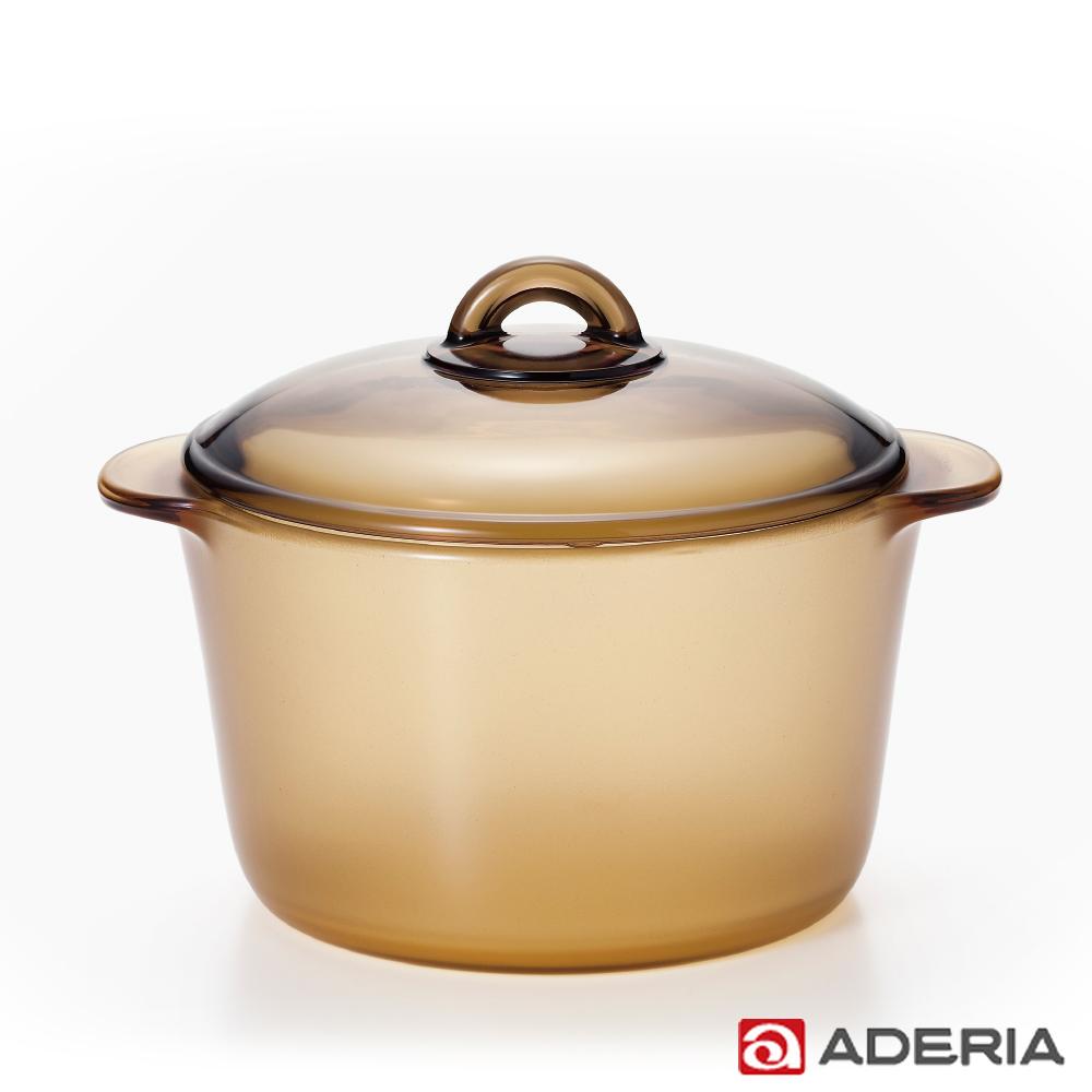 【ADERIA】日本進口陶瓷塗層耐熱玻璃調理鍋3L(棕)