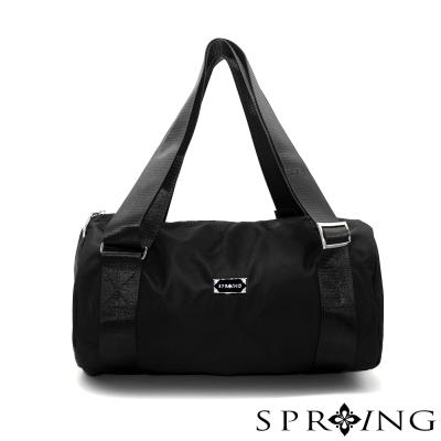 SPRING-日常休閒防水牛津布圓筒包-後背包-黑