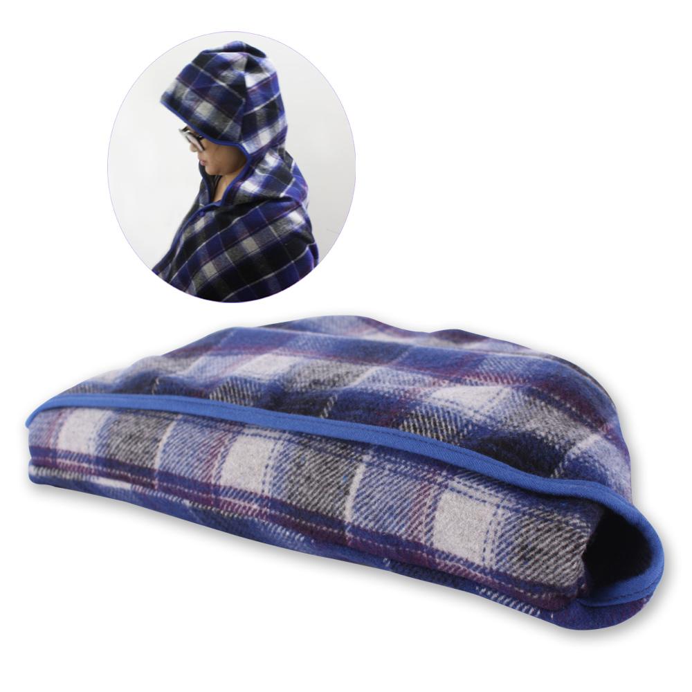 Yahoo!-寶藍格紋連帽披毯