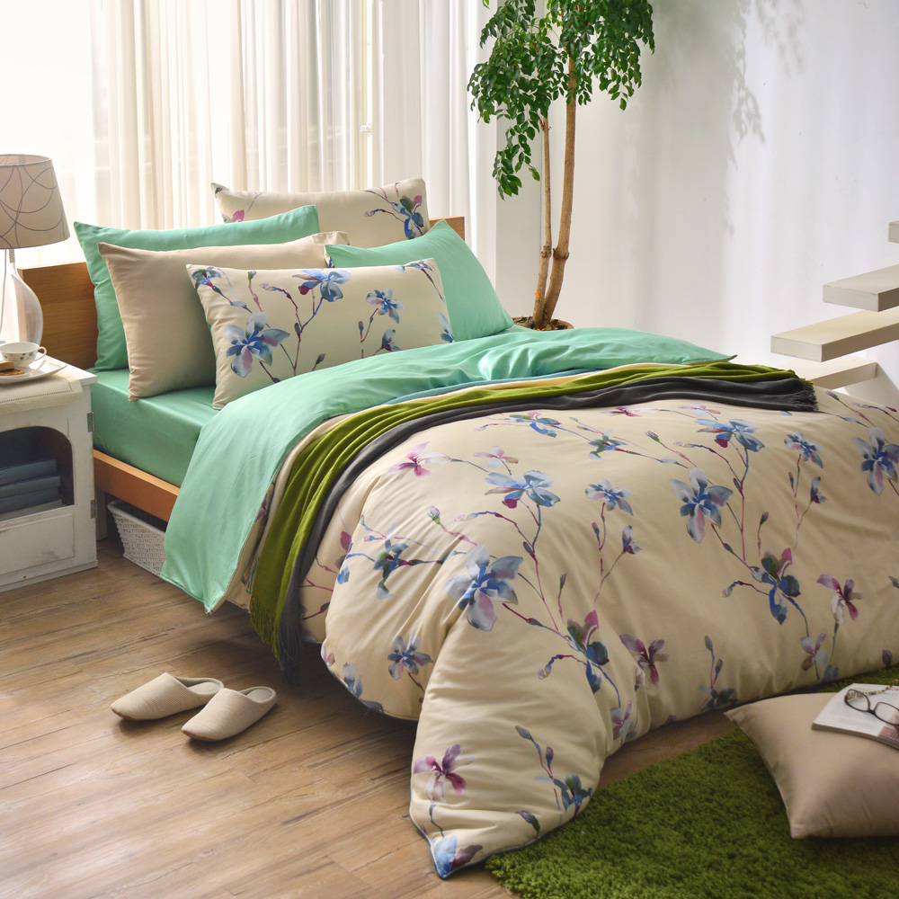MONTAGUT-莫內花園-260織紗精梳棉-兩用被床包組(加大)