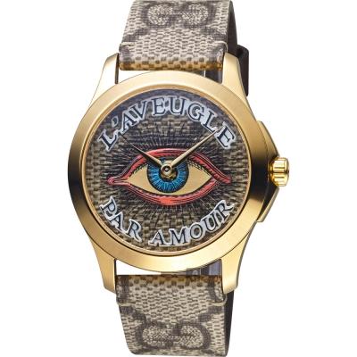 GUCCI古馳 G-TIMELESS EYE 魅力手錶-金框/38mm