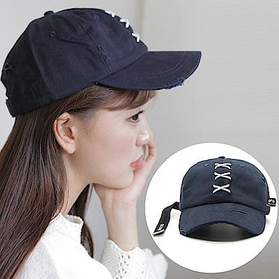 梨花HaNA 韓國XXX字母縫線造型洗舊棒球帽老帽-速