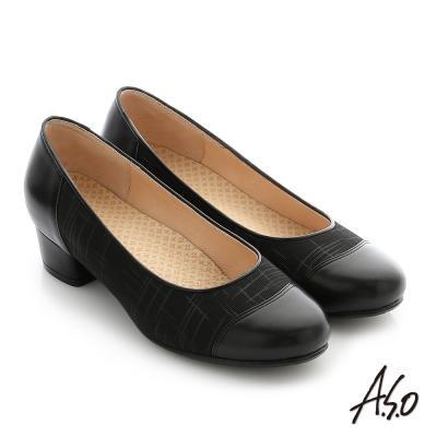 A.S.O 拇指外翻 真皮拼接針織布料奈米中跟鞋 黑色