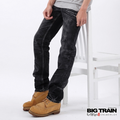 BIG TRAIN-惡童重水洗黑小直筒褲-黑