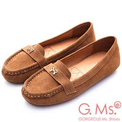 G.Ms. 牛麂皮小金蝴蝶結莫卡辛鞋-駝色