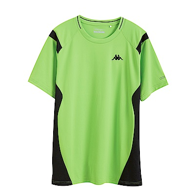 KAPPA義大利 時尚舒適型男KOOL DRY吸濕排汗衫 蘋果綠 黑