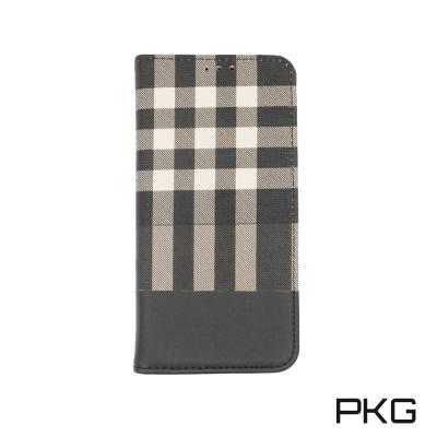 PKG Apple IPhone X側翻式皮套-精選系列-時尚格子護套