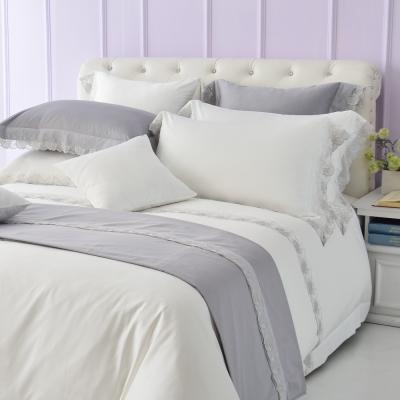 Cozy inn 倒影-純白 300織精梳棉四件式被套床包組(雙人)
