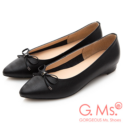 G.Ms. MIT系列-牛皮蝴蝶結尖頭包鞋-蛇紋黑