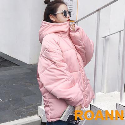 純色寬鬆長袖羽絨棉連帽外套 (共四色)-ROANN