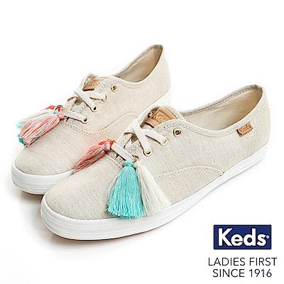 Keds CHAMPION 渡假旅程流蘇帆布鞋-米/金