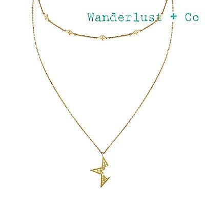 Wanderlust+Co 澳洲時尚品牌 閃耀不規則之星兩圈長項鍊