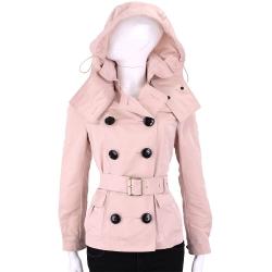 BURBERRY 可拆式連帽防雨塔夫塔綢風衣外套(粉色)