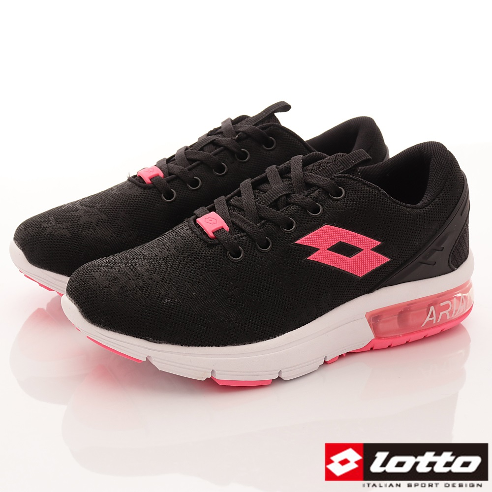 Lotto樂得-編織緩震氣墊鞋 SI620黑(女段)