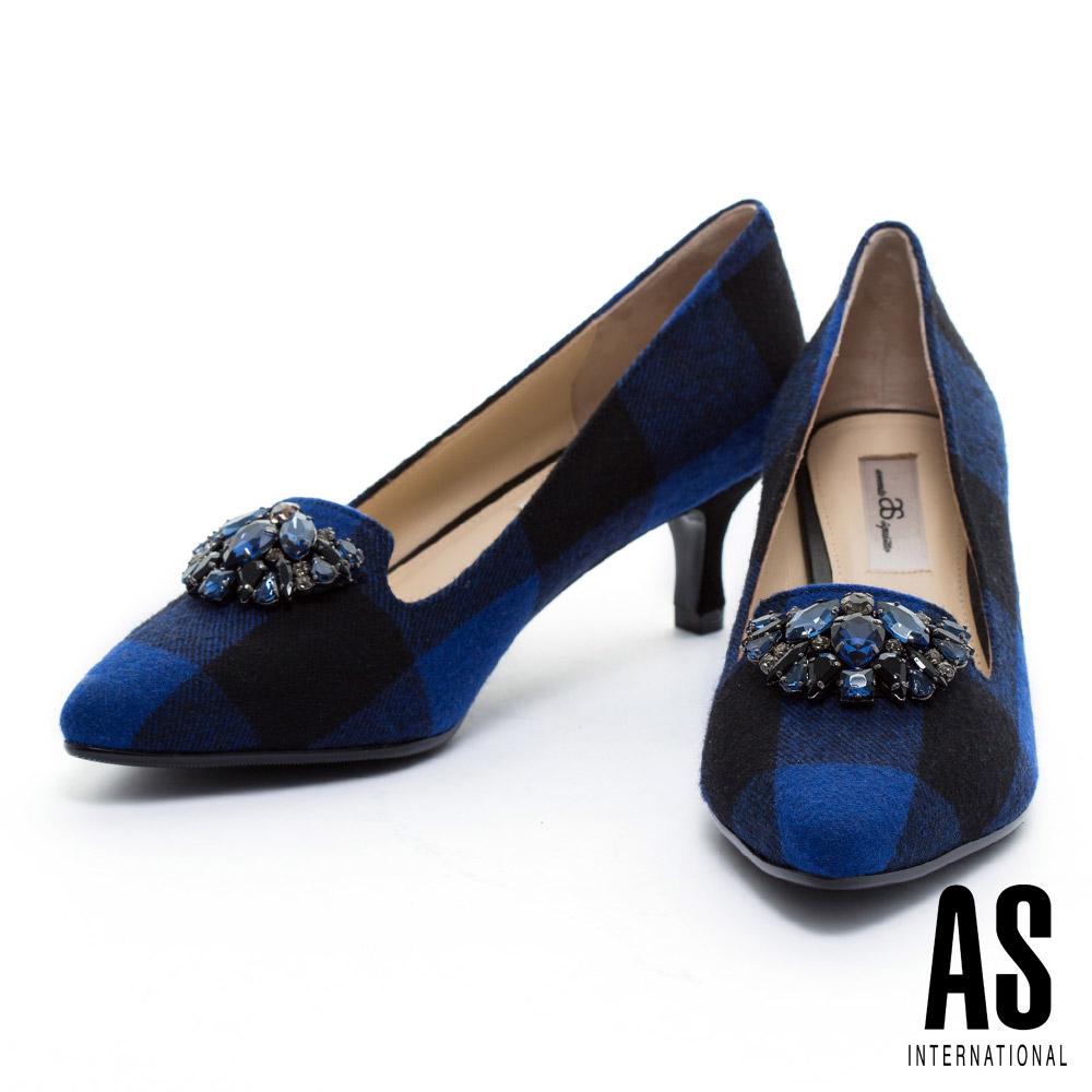 高跟鞋 AS 華麗鑽飾格紋毛呢尖頭樂福高跟鞋-藍