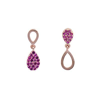 微醺禮物 正韓  鍍K金銀針 不對稱 紅色鋯石 鏤空 簡單亮眼 名媛風 耳針 耳環