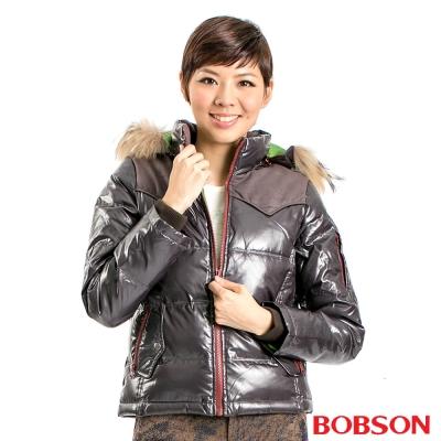 BOBSON-女款亮面紅拉鍊羽毛外套