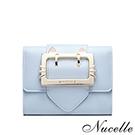 NUCELLE 貓咪金屬框飾三折短夾 微風藍