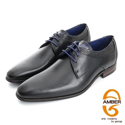 Amber-尊榮時尚 壓紋綁帶紳士鞋皮鞋(男)-黑色