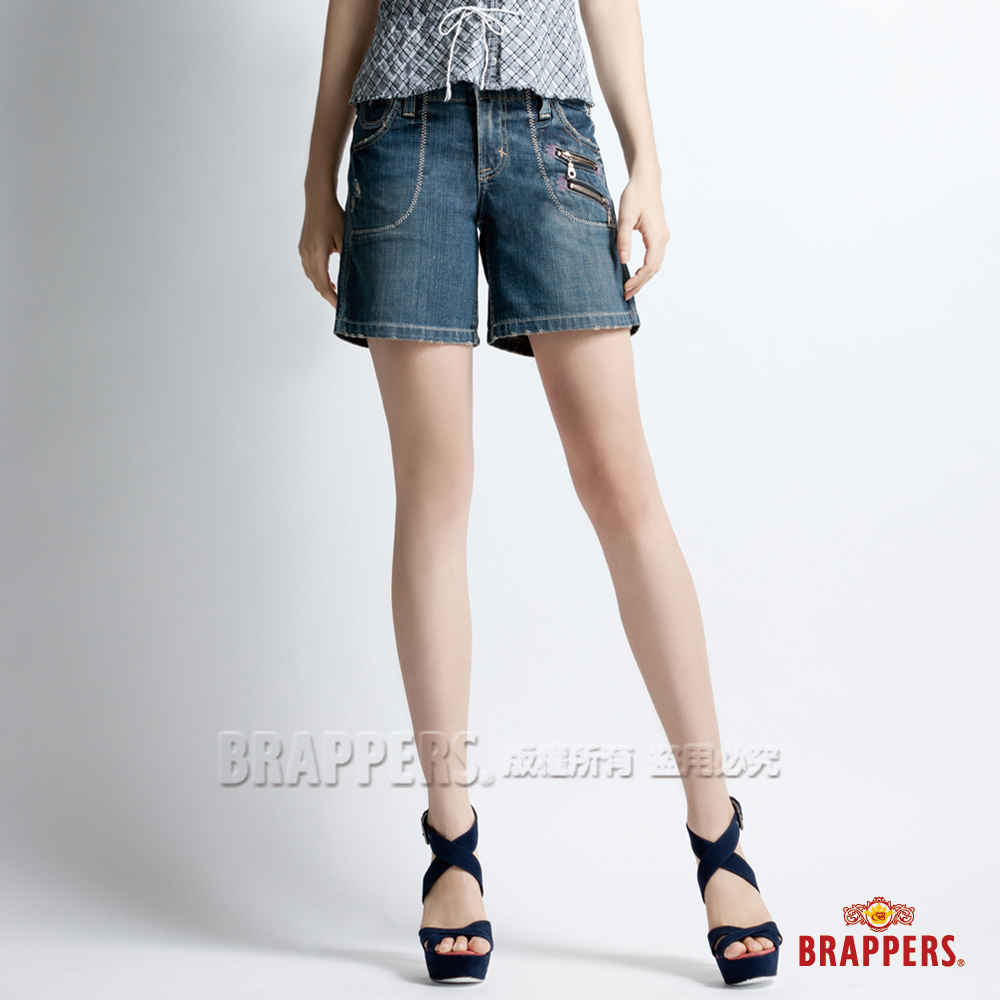 BRAPPERS 女款 Lady Vintage系列-女用五分褲--藍